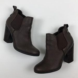 Carlos Size 6.5 Brown Leather Stretch Booties